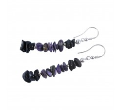 shungite earrings with charoite sterling silver