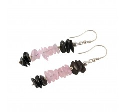 shungite earrings with pink quartz sterling silver