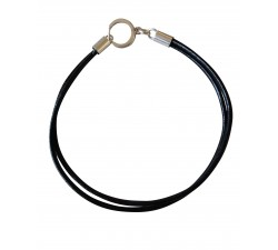 bracelet base black leather with sterling silver clasp for natural stones cure beads with healthy benefits