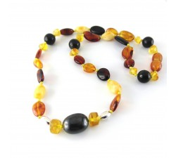 amber shungite baby teehting nacklace sterling silver