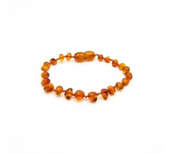 pain reliver bracelet with amber for child baroque shape color cognac