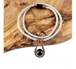 copper shungite white woven cork agate magnetic clasp