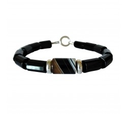 black agate bracelet with sterling silver rings