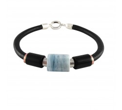 bracelet on black leather strap with aquamarine cylinder and two black agate besides sterling silver
