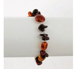 aphrodite pain reliever amber bracelet beans with small black amber between sterling silver finish