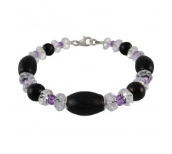 emf neutralizer Shungite with crystal stone and amethyst sterling silver bracelet