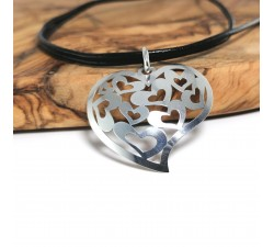 love heart sterling silver pendant on black leather strap