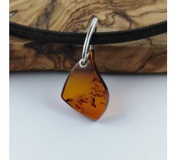 aphrodite cognac amber necklace sterling silver on leather strap