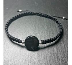 Black bracelet with natural flat stone shungite