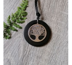 lucky tree sterling silver round flat shungite mineral pendant