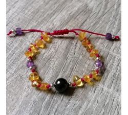Bracelet for girls silver with Amber Amethyst and Shungite