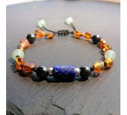 Bracelet for boys with Amber Shungite and Lapis Lazuil