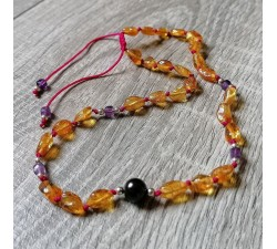 Amber necklace for baby girl with Shungite and Amethyst