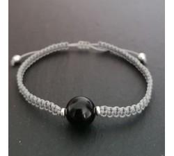 shamballa bead bracelet shungite grey cord