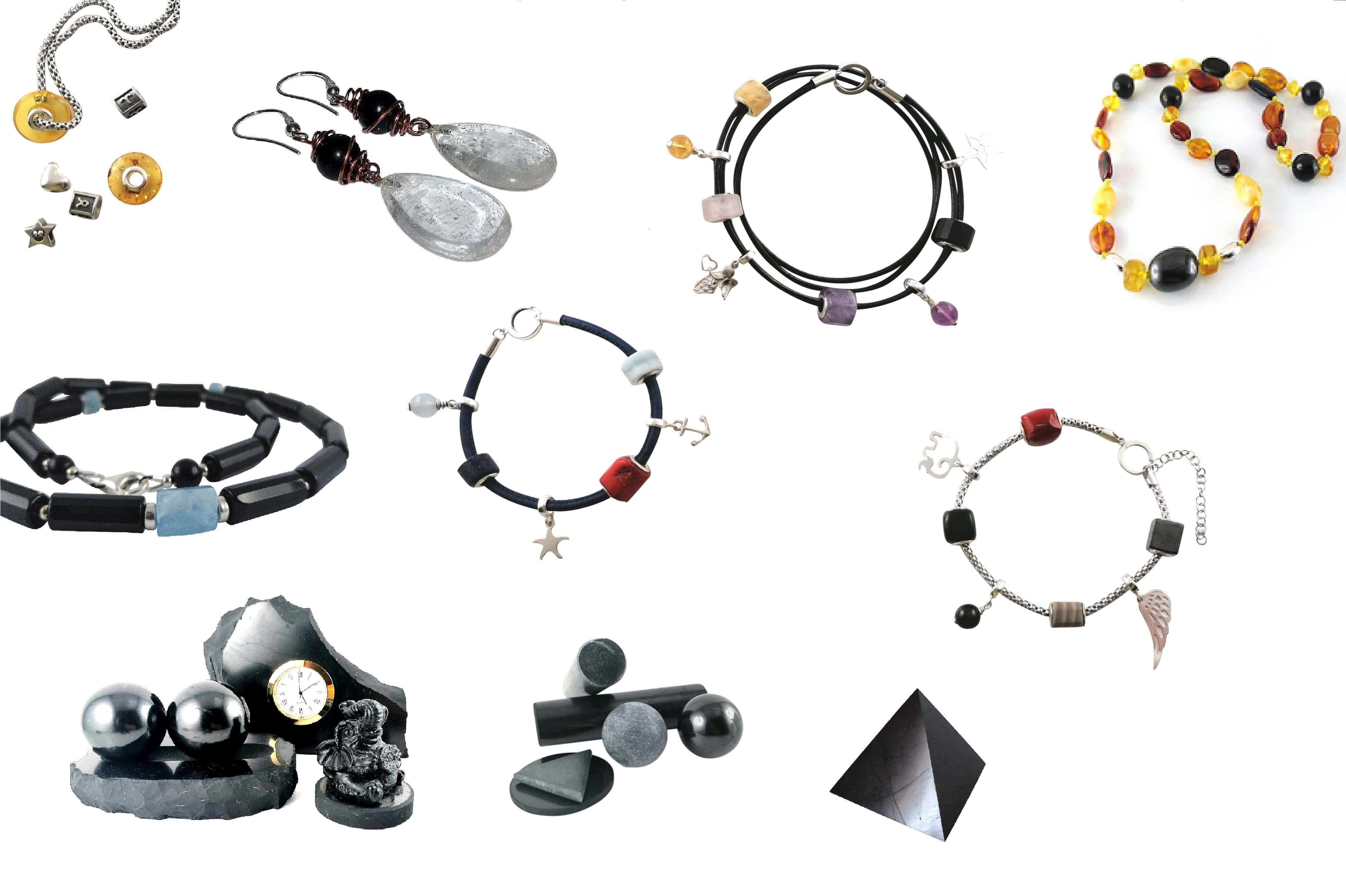 Accessories from shungite rock and beads design to Cure Beads Collection and best amber necklace for baby