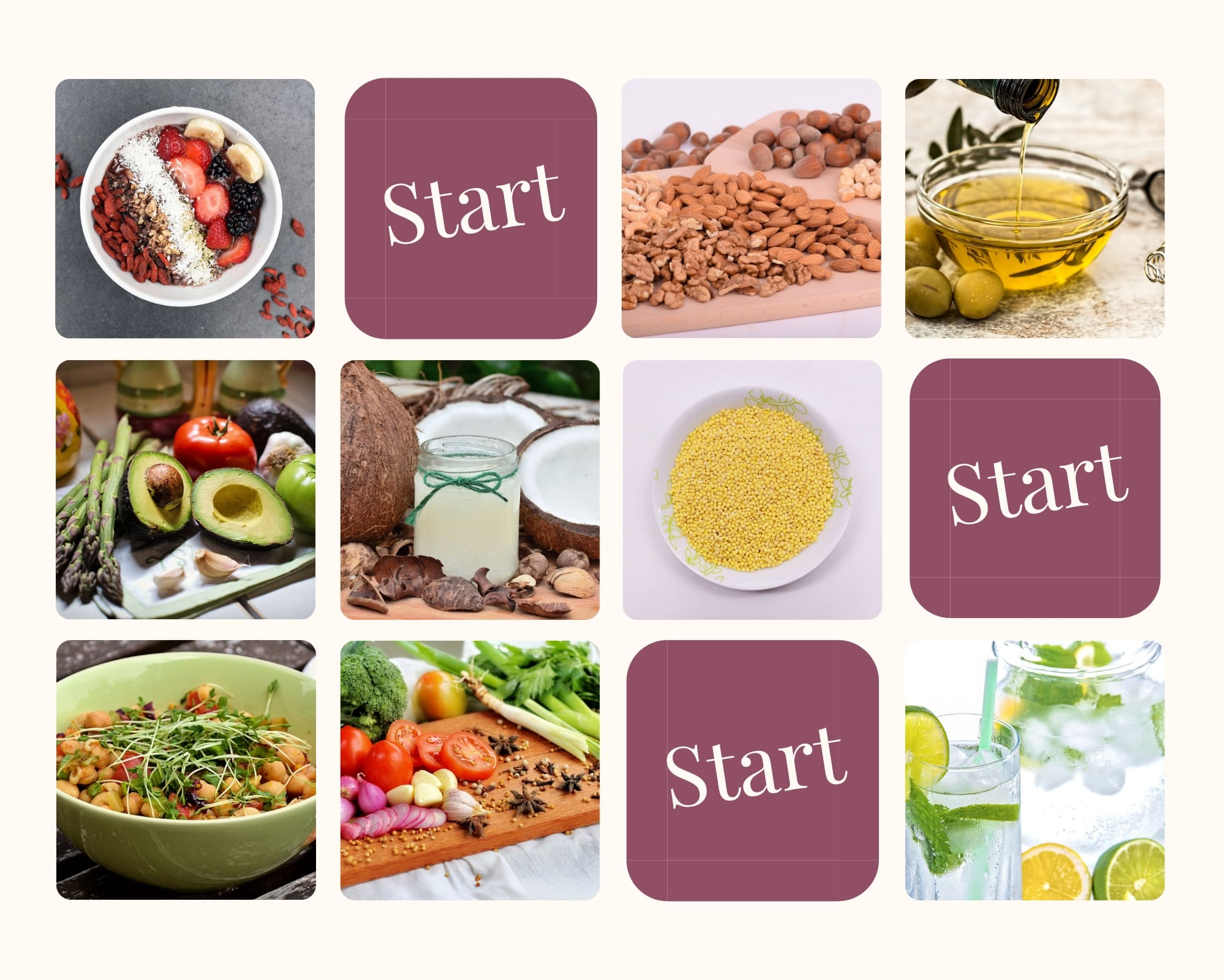 start to eat this products millet vegetables coconut oil oil from olives shungite water