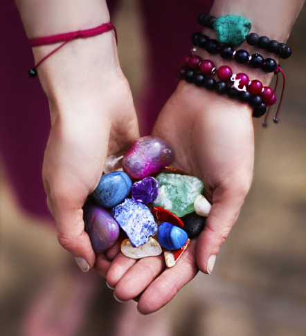 Gemstones on hands